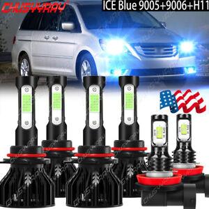 Ice Blue For Honda Odyssey 2005-2010 LED Headlight High Low Beam+Fog Light Bulbs
