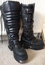 NEWROCK - BLACK GOTH KNEE HIGH ZIP LEATHER BUCKLE BOOTS - Used - EU 44 -  UK 9.5