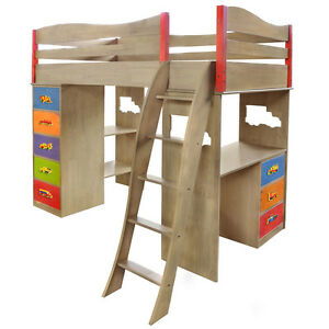Boys Like Trucks Loft Bed with Built in Desk and Dresser Grey Finish