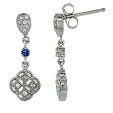Sterling Silver Clover Flower Dangle Earrings w/ Brilliant Cut CZ Stones