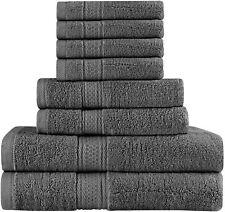 Premium 8 Piece Towel Set (Grey); 2 Bath Towels, 2 Hand Towels and 4 Washcloths