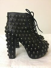 Jeffrey Campbell Lita Skull Black Size 6M lace up ankle heel boots