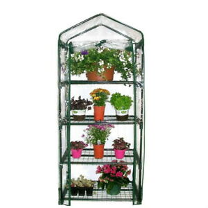 Mini Greenhouse 4 Tier PVC Frame with Cover Rollup Door Garden Planting Outdoor