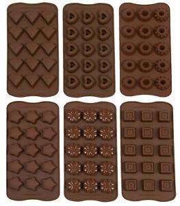 6-tlg. Pralinenform aus Silikon / Schokoladenform, verschiedene Formen