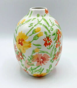 "Anthropologie Leah Reena Goren Spring Floral Vase Bulbous Glazed Art Decor 6.5"""