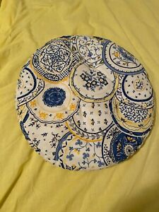Bar kitchen stool cushion cover fabric blue,white, yellow gently used