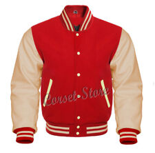 Varsity Red & Cream Letterman Jacket in Wool and Genuine Leather Sleeves