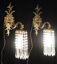 2 Sconces ROCOCO Vintage French Brass Bronze waterfall Crystal prism garlands