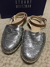 Women's Stuart Weitzman Flat Silver Closed Toe Sandal Size 9.5