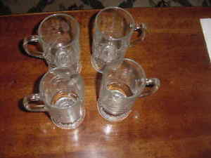 Set of 4 Princess House Heritage Crystal 5 1/2 inch  Pedistal Mugs, Ex