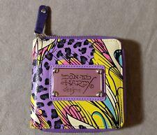 ED HARDY Ladies Wallet Zip Bifold Multi-color Bird Print Christian Audigier