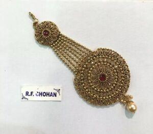 Red Gold jhumar kundan pearl tikka passa side headpiece hijab indian jewellery