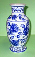 "Blue Flower Porcelain Vase by Ganz 7 3/4"" Inches Tall"