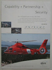 9/2002 PUB EADS NORTH AMERICA EUROCOPTER HH65 US COAST GUARD HELICOPTER AD