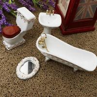 1/12 Dollhouse Miniature Bathroom Set Furniture Accs Toilet Bathtub Basin #1