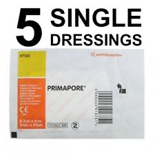 5 X Primapore 8.3cm x 6cm Single Dressings