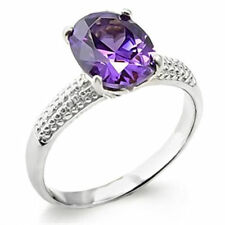 Solitaire Amethyst White Gold Filled Fashion Rings