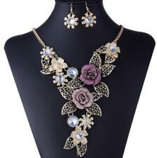 Pendant Betsey Johnson Charm Rhinestone Golden Chain Flower Earring Jewelry Sets