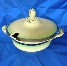 Vintage serving dish Tureen sauce bowl + lid Johnson Bros Victorian Green silver