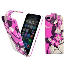 FOR APPLE IPHONE 4/4S PINK AND CREAM FLOWER PRINTED DESIGN PU LEATHER FLIP CASE