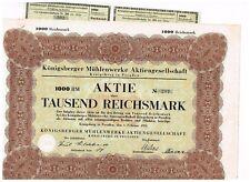 Königsberger Mühlenwerke AG, Königsberg i.Pr. 1931, 1000 RM, ungelocht