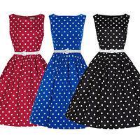 Women's Polka Dot Vintage 1950s Rockabilly Slim Fit Evening Party Swing Dress