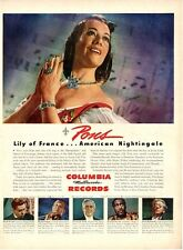 """1944 Columbia Records PRINT AD Lily Pons """"Lily of France"""" American Nightingale"""