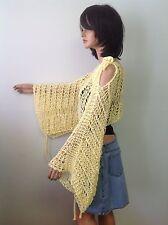 Hand Knit Cotton Shrug Halter Shawl Wrap Sweater Lace Yellow Summer Fashion