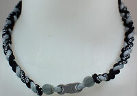 "NEW 20"" Custom Clasp Braided Sports Black Gray Grey Tornado Necklace Twisted"