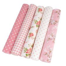 Pink Series 5PCS Assorted Pre-Cut Bundle Charm Cotton Quilt Floral Dot Fabric