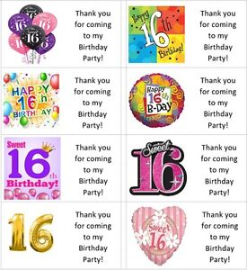 40 x Personalised Sweet 16th/16 birthday labels/stickers/party/cake/sweet/bags