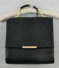 Emperia NWT Black Vegan + Lead Free Faux Leather Med Satchel Handbag w/Gold Hdwr