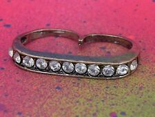 Double 2 Finger Pave Brass Knuckle Ring Gold Tone Rhinestone Bar Statement Ring