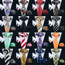 Classic Solid Paisley Stripe Check Mens Tie 100% Jacquard Woven Silk Necktie Set