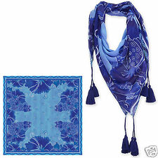 Laurel Burch 100% Poly Rayon Square Scarf Blue Indigo Cats Neck Scarf New