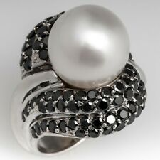 Cultured South Sea (13 mm) Pearl & Black Onyx Cocktail Occasion Ring 925 Silver