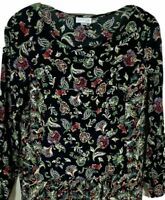 J Jill petite size small tunic top black scoop neck floral print pullover peplum