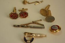 Great Vintage lot of cufflinks and tie clips-masonic lot [Y7-W6-A9]