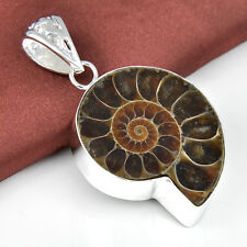 Beautiful Handmade Natural Ammonite Fossil Gemstone Silver Necklace Pendants