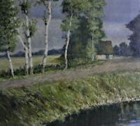 C. (Rohw..(-??)-RUGE (1865-1940) antik-Gemälde WEG MIT BAUM-ALLEE, TEICH & HAUS