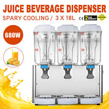 54L Stainless Steel Cold Juice Beverage Dispenser Refrigerated 3 x 18L