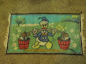 Vintage 50's Disney Donald Duck Carrying Chip & Dale In Water Pails Rug