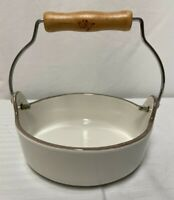 ore Urban Country Small White Bowl With Wood Handle