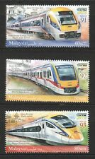 MALAYSIA 2018 RAILWAY ELECTRIC TRAIN SERVICE COMP. SET OF 3 STAMPS IN MINT MNH