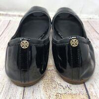 Tory Burch Black Patent Leather Peep Toe  Ballet Flat Shoe. US Size 9.5 M