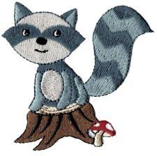 "Raccoon Applique Patch - Nocturnal Mammal, Animal, Mushroom 2-7/8"" (Iron on)"