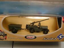 SOLIDO VEREM ARMY JEEP GUN 105 TRAILER 1:50 SCALE DIE CAST. NEW