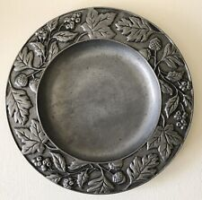 Vintage 2001 Longaberger Fall Leaves Small Acorn Berries Pewter Round Tray Plate