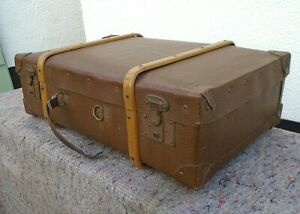 Vintage Wood Banded Brown Faux Leather Eagle Lock Suitcase Travel Luggage Prop