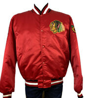 Chicago Blackhawks Starter Jacket XL Bomber Snap NHL Hockey Red Indian